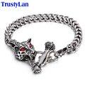 TrustyLan Trendy Fashion Male Jewelry Unique Leopard Wolf Design Stainless Steel Bracelets Man Link Chain Bracelet Armbanden