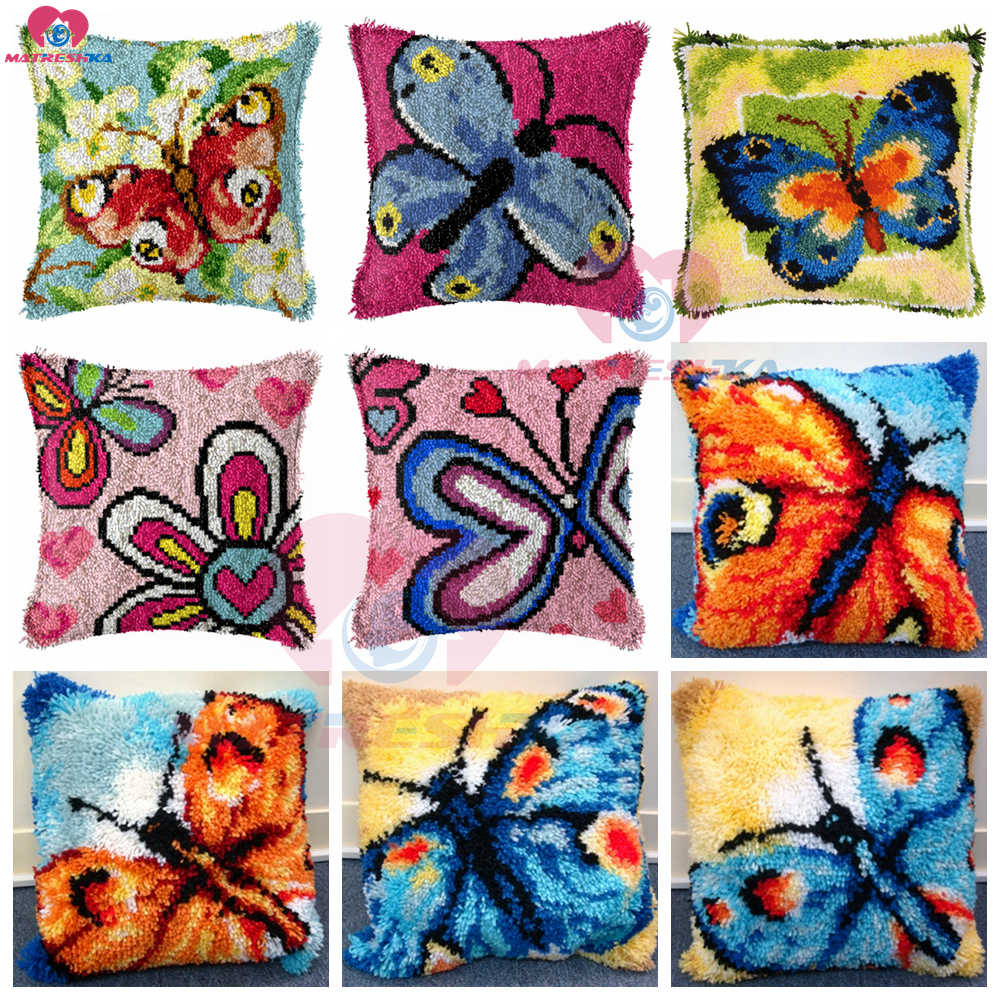 Dropshipping  Latch Hook kits Pillow Butterfly Diy Handmade Printed Canvas Cushion Latch Hook Kits DIY Unfinished accessories