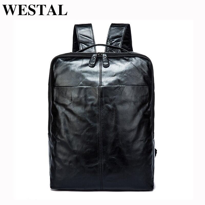 Bagaj ve Çantalar'ten Sırt Çantaları'de WESTAL hakiki deri erkek sırt çantası Tasarımcı sırt çantası erkek Sırt Çantaları Yüksek Kaliteli çanta Seyahat çantası okul çantası Erkek schoolbag 9081'da  Grup 1