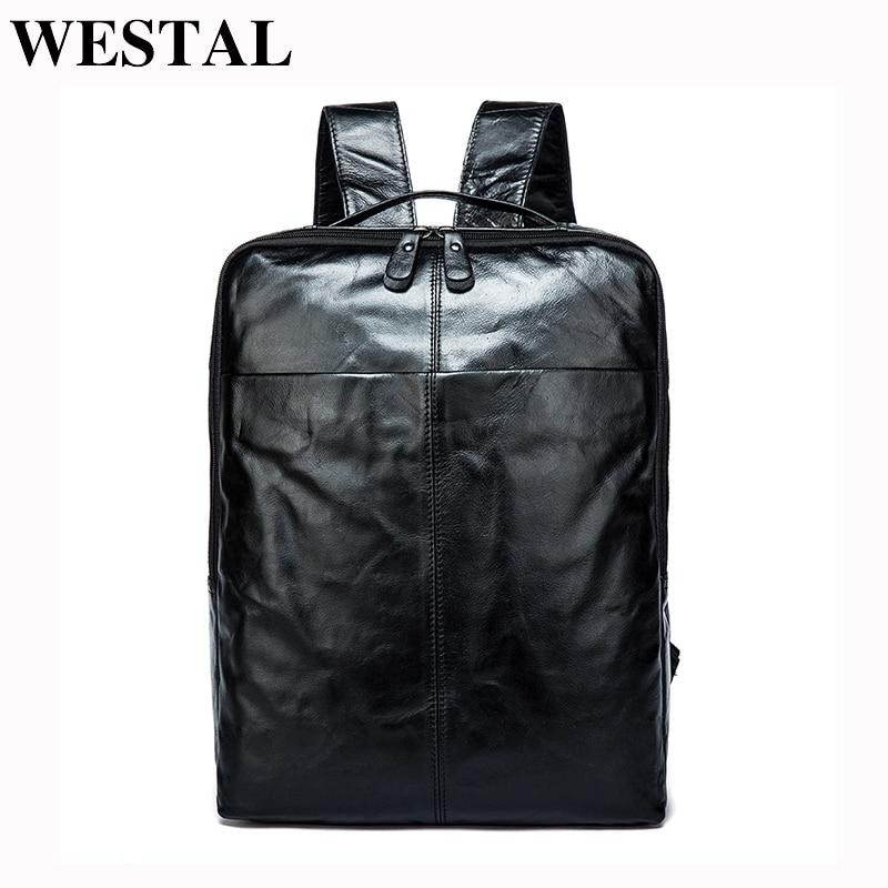 Westal 정품 가죽 남성 배낭 디자이너 데이 팟 남성 배낭 고품질 가방 여행 가방 학교 가방 남성 schoolbag 9081-에서백팩부터 수화물 & 가방 의  그룹 1