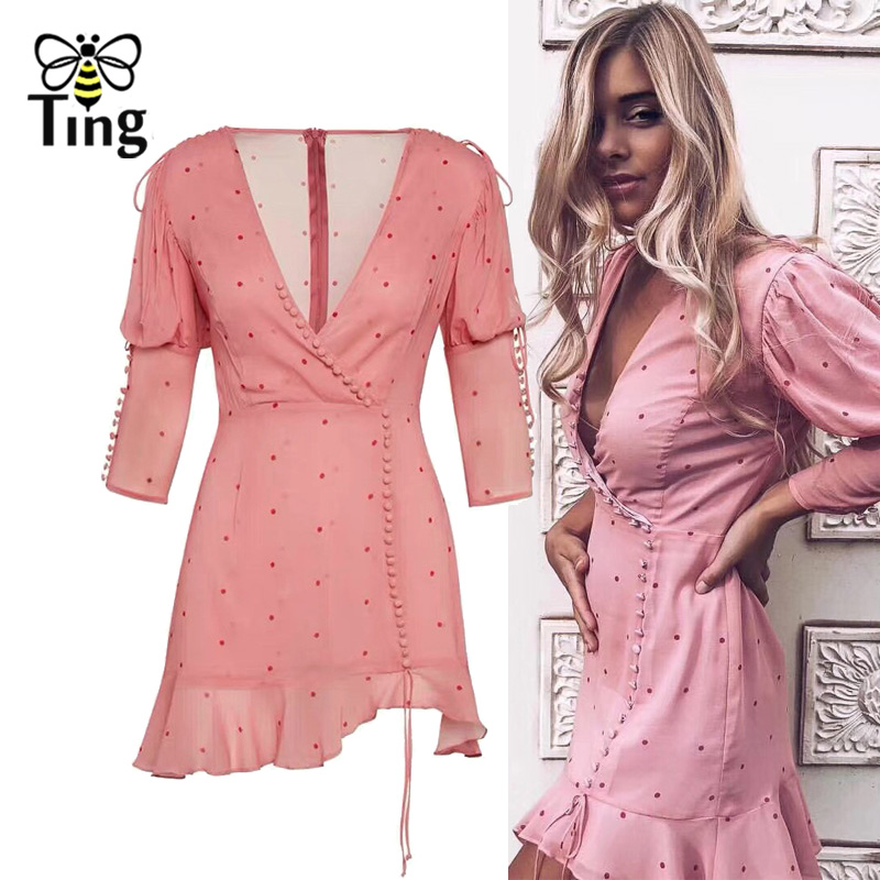 Tingfly Sweety Polka Dot Print Cute Pink Ruffles Mini Dress V neck Outdoor Party Dress For Love Button Decorative Summer Vestido