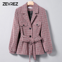 Autumn Fashion Blazer Suit Women Sweet Single Breasted Slash Female Long Sleeve Ladies Office Casual Blazer Jackets Coat Zevrez