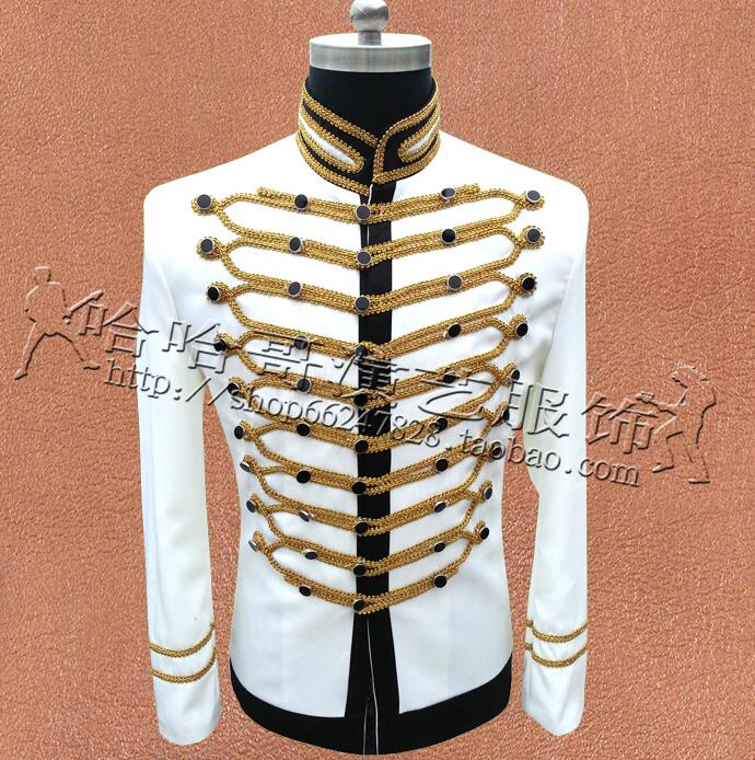Black white men suits designs masculino homme terno stage singers men blazer jacket star style dress punk stand collar England ...