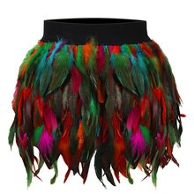 Peacock Dance Belly Dance Swan Feather Skirt Elastic Waist Mini Skirts Cosplay Halloween Chritmas Rave Wear for Women(China)