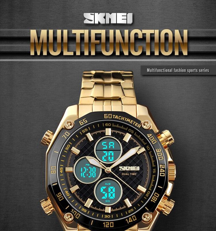 974b7da7c534 SKMEI Reloj de oro para hombre Reloj digital de acero lleno LED Hombres  Relojes deportivos Día Fecha Calendario Múltiple Zona horaria Relogio  Masculino