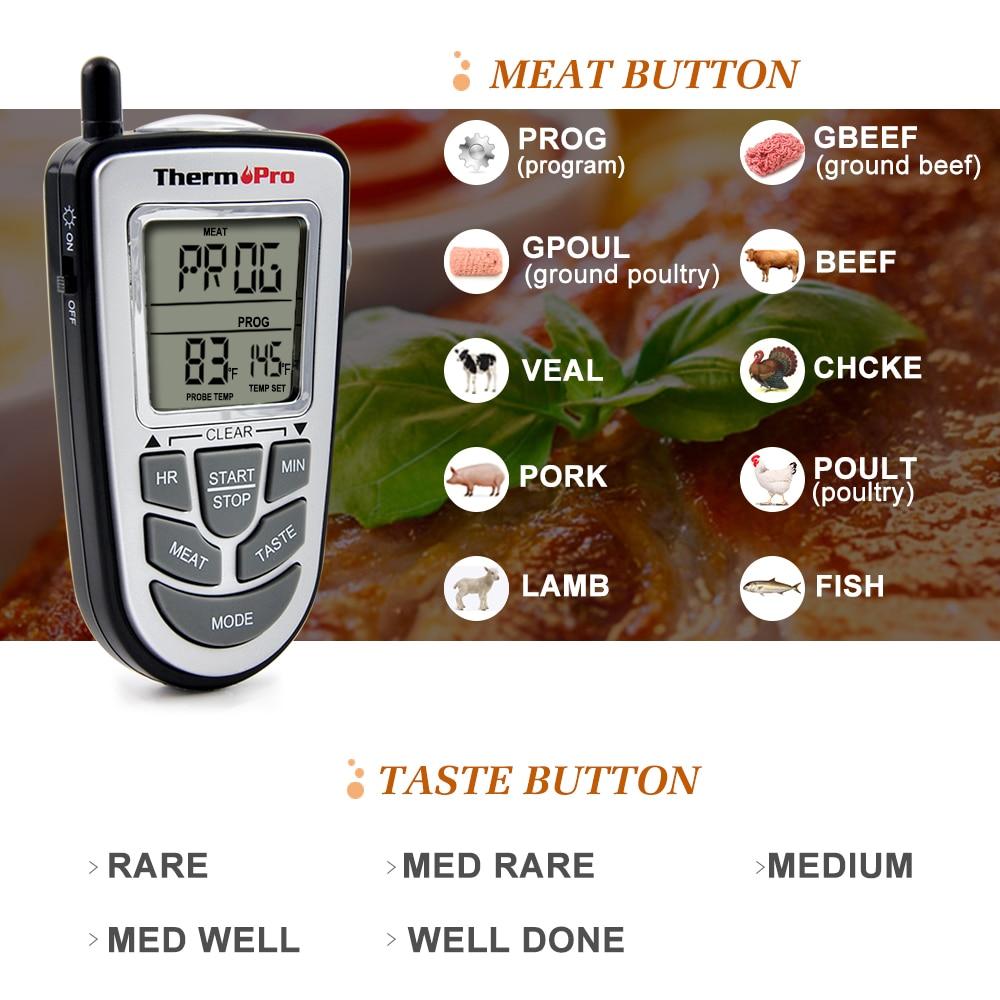 09 Pies 300 Tp Thermopro Inalámbrico De Cocina Digital Termómetro Zq51BxtwC