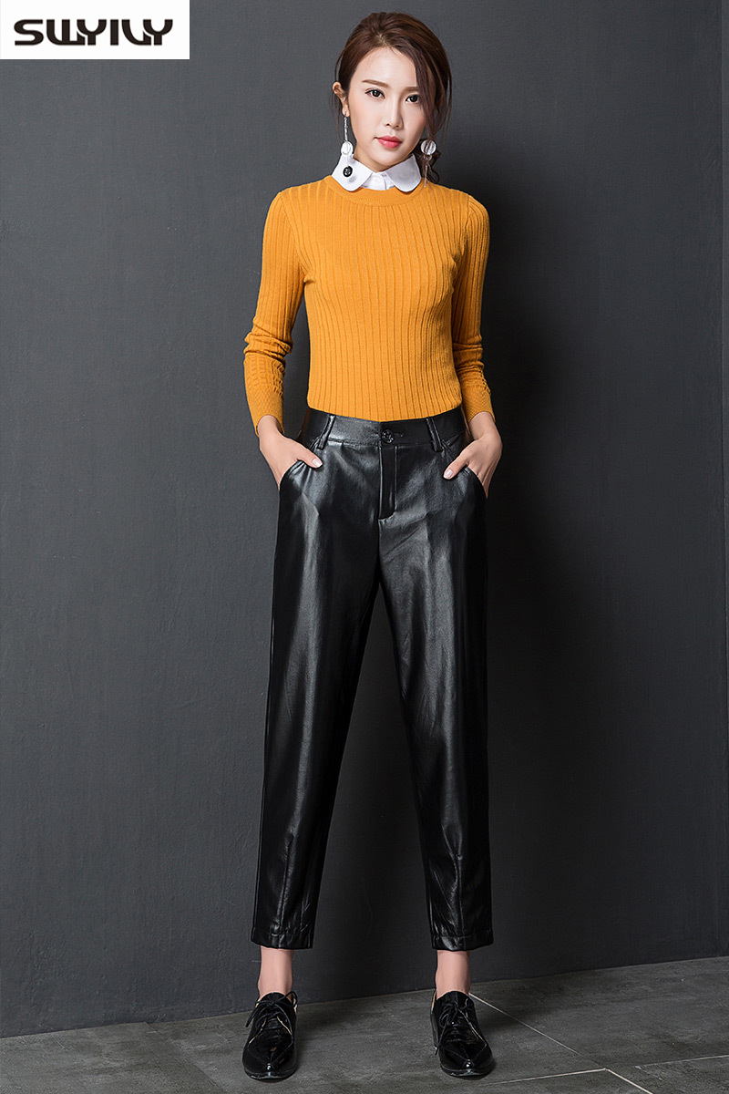 Large Size Leather Pants Women Wide Legs Trousers 2019 -4081