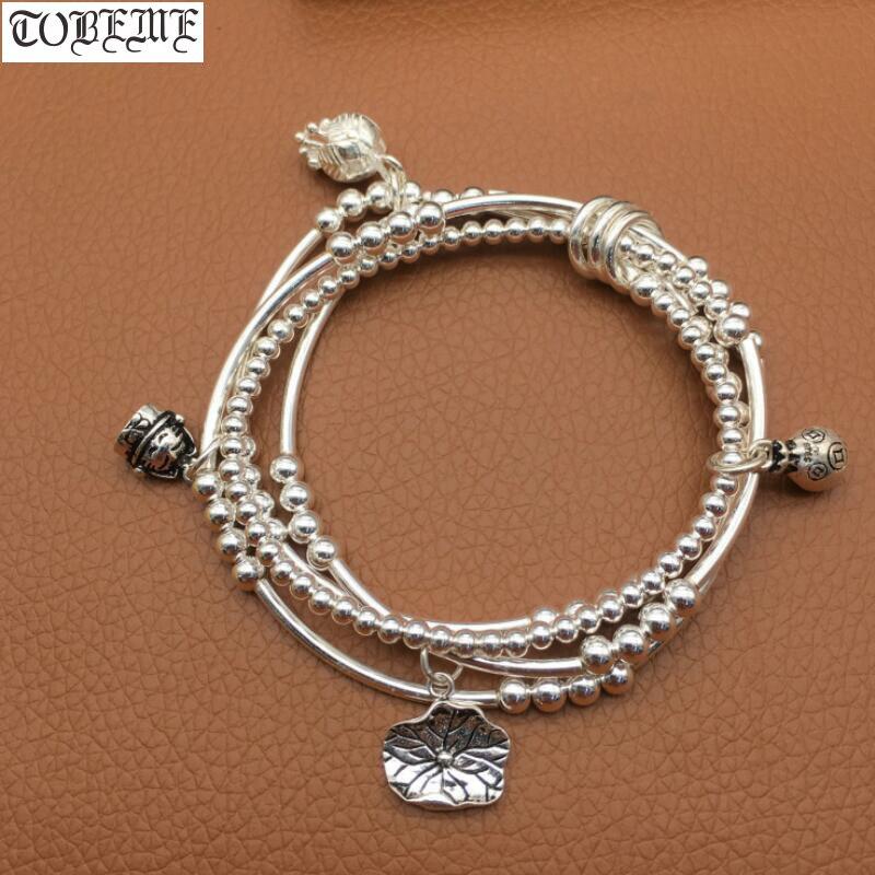 Handmade 925 Silver Beads Bracelet Thai Silver Beaded Wrap Bracelet Good Luck Charm Beaded Women Bracelet