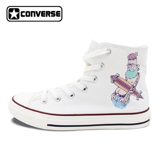 Design originale Bianco Converse All Star Scarpe Uomo Sneakers di Tela  Delle Donne Pantaloni A Vita