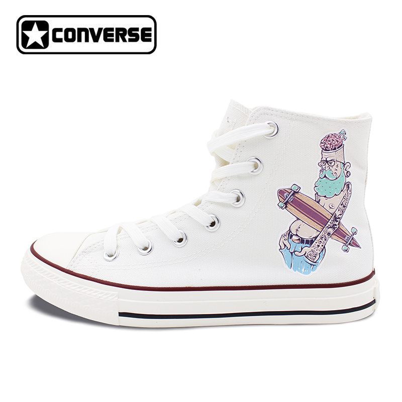 Original Design White Converse All Star Shoes Men Women Canvas Sneakers Hipster Character Rock Style Skateboarding Shoes women men converse all star canvas shoes vocaloid hatsune miku expo design hand painted sneakers skateboarding shoes gifts