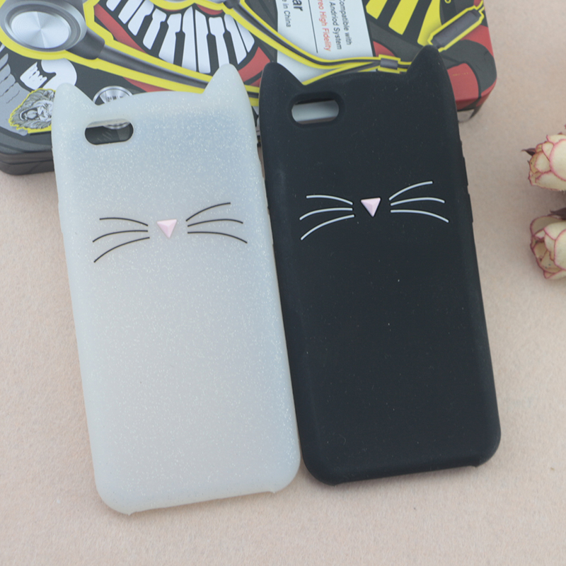 Case For iPhone 5S 5 SE 6 6S 8 6/7 Plus 4 4S Cat Beard Cover 3D Cute Cartoon Animals Ears Glitter Back Shell Rubber Protective
