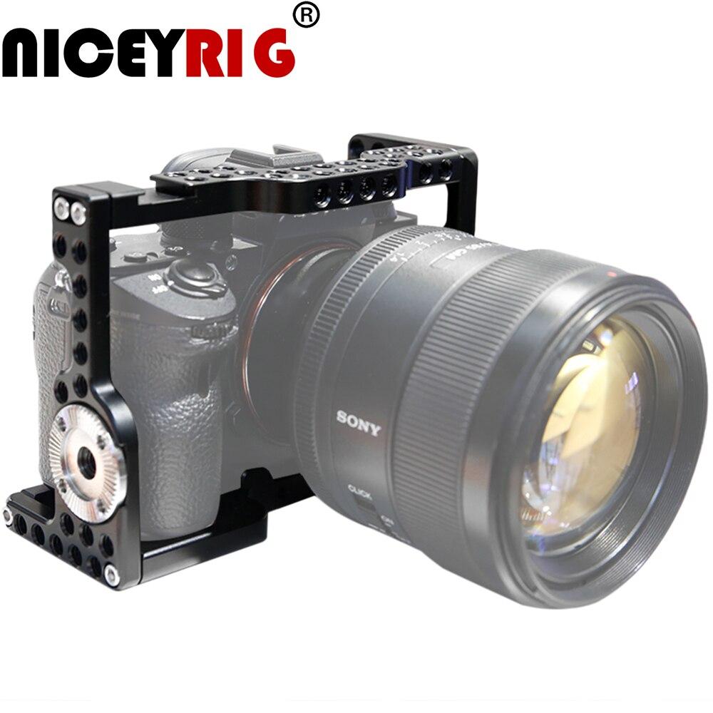 NICEYRIG DSLR Camera Cage for Sony Alpha a7Riii a7r3 A9 a7m3 A7MIII A7RII a7r2 A7SII a7s2 A7II Camera Rig Photo Studio Accessory meike mk x1em metal bracket hand grip for sony a9 a7miii a7riii a7rii a7ii a7sii camera