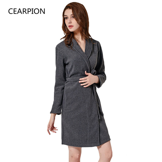 CEARPION Autumn Winter Women Kimono Bathrobe Gown Solid Color Warm Flannel  Robe Lady Sexy Sleepwear Intimate 06db3c3ef