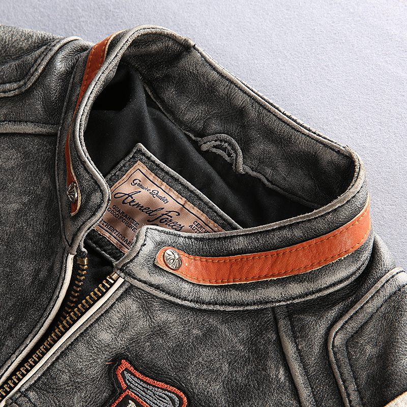 HTB1L6H aJzvK1RkSnfoq6zMwVXaw 2019 Men Motorcycle Rider Jacket Genuine Leather Vintage Coat Stand Collar Embroidery Cowhide Leather Jacket DHL Free Shipping