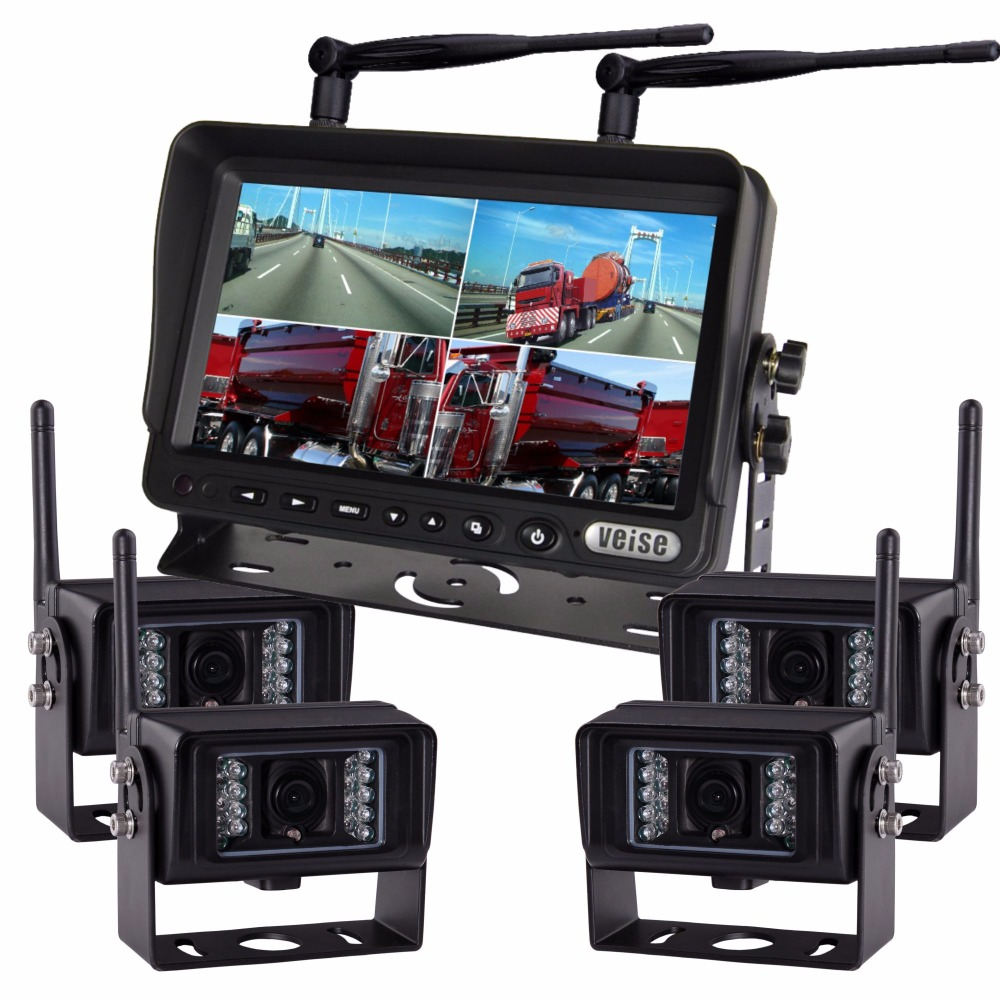 "7"" Wireless 2.4G Rear View Monitor with Wireless Transmission Backup Camera For Farm Tractors Digital Agriculture (4pcs camera)"