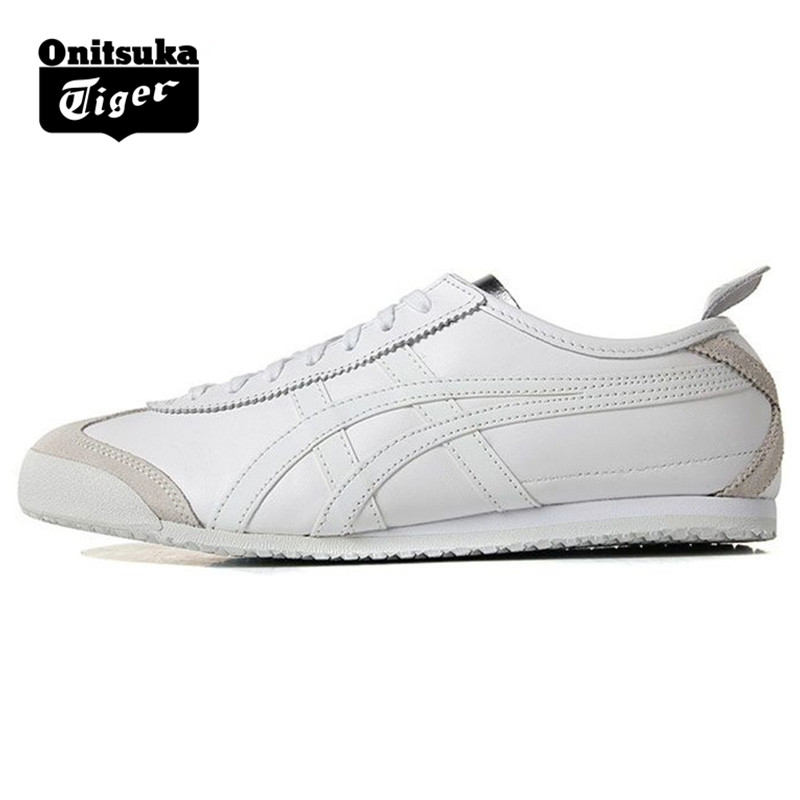 pretty nice 6dfc0 d7936 US $115.0 |ONITSUKA TIGER MEXICO 66 Men Women Shoes White silver Leather  Rubber Hard Wearing Travel Street Low Sneakers Badminton Shoes-in Badminton  ...