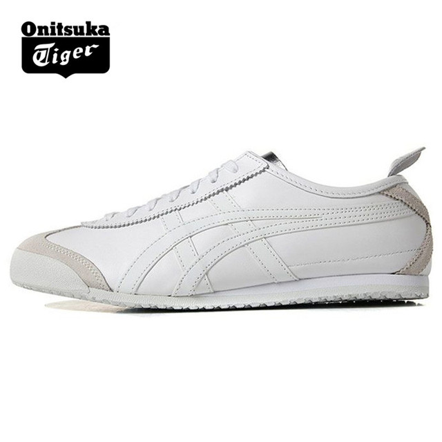 newest 0a5b1 6bd95 ONITSUKA TIGER MEXICO 66 Men Women Shoes White silver Leather Rubber Hard  Wearing Travel Street Low Sneakers Badminton Shoes-in Badminton Shoes from  ...