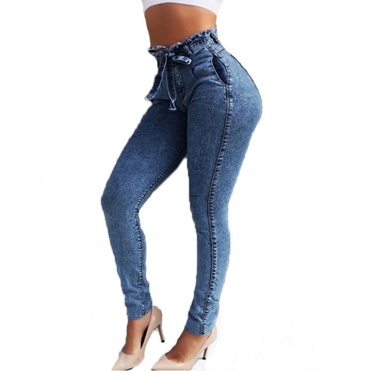 High Waist Jeans For Women Slim Stretch Denim Jean Bodycon Tassel Belt Bandage Skinny Push Up Jeans Woman 7