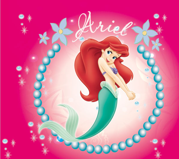 7x5FT Rosa Princesa Ariel Pequena Sereia Colar Menina Miudos Criancas Sob Encomenda Da Foto Estudio Vinil