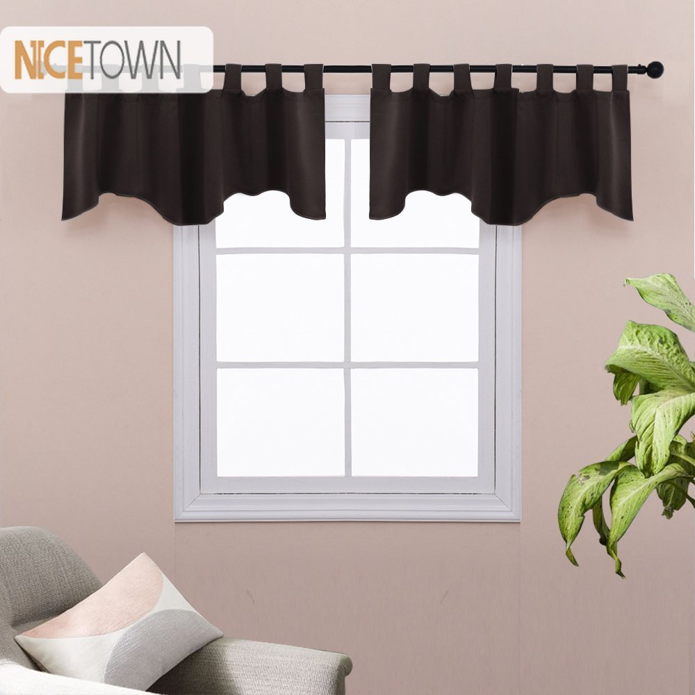 US $23.53 40% OFF|NICETOWN Blackout Tab Top Short Curtains Natural  Scalloped Valances Window Treatments for Bathroom Kitchen Window living  room-in ...