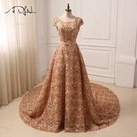 ADLN New Elegant Lace Evening Dress Short Sleeves A line Small Flowers Evening Gowns 2018 Vestidos de Fiesta