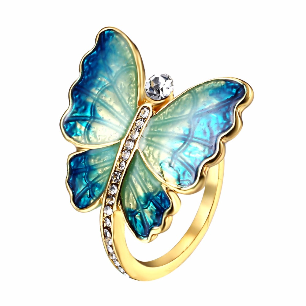Cute Flare Blue Large Butterfly Ring