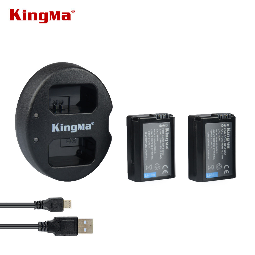 KingMa Double (Dual) Charger For Sony NP-FW50 Battery Alpha 7 a7 7R a7R 7S a7S a3000 a5000 a6000 A6300 A6500 NEX-3 NEX-3N NEX-5 np fw50 8000mah camera external power for sony nex 5r nex 7 a55 a7r a7m2 a6500 nex 6 smartphone external mobile power battery