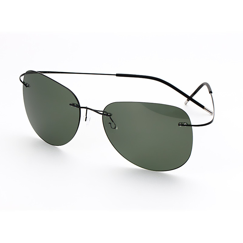 2016 New Brand Designer Aviator Eye Glasses Ultra Light Titanium Rimless Gafas Men Polarized Sunglasses