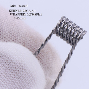 Image 4 - XFKM 50 pcs alien fused clapton tiger mix flat twisted  coils premade wrap wires  Quad hive Heating Resistance coil a1