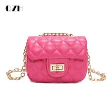 QZH Women Small Bag 2019 Summer New Girls Princess PU Leather Messenger Bags Lady Mini Chain Shoulder Bag Crossbody Handbag Gift