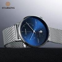 STARKING автоматические часы Relogio Masculino самоветер 28800 Beats механические наручные часы мужские стальные мужские часы 5ATM AM0269