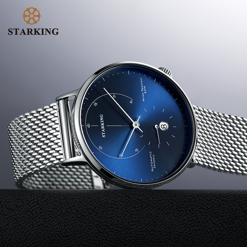STARKING Automatic Watch Relogio Masculino Self-wind 28800 Beats Mechanical Movement Wristwatch Men Steel Male Clock 5ATM AM0269