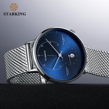 STARKING Automatic Watch Relogio Masculino Self-wind 28800 Beats Mechanical Movement Wristwatch Men Steel Male Clock 5ATM AM0269 - discount item  56% OFF Men's Watches
