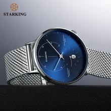 ساعة يد أوتوماتيكية من STARKING طراز Relogio Masculino تعمل بالرياح الذاتية وبها 28800 نبضة حركة ميكانيكية ساعة يد رجالية من الفولاذ المقاوم للصدأ طراز 5ATM AM0269