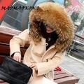 MAOMAOKONG Novo Casaco De Lã Das Mulheres de Inverno Grande Guaxinim Verdadeira Gola De Pele Com Capuz Trench Casual Longo Casacos Ladies Coats Jackets