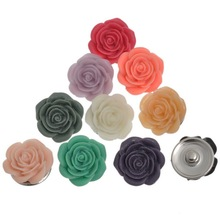 10Pcs Mixed Round Resin Rose-Shaped Flower Snap Buttons Press Click 21x11mm, Fastener 5.5mm