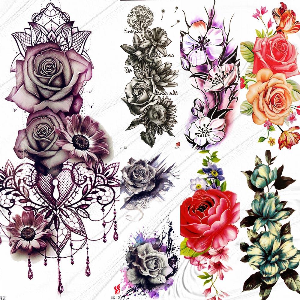 Big Rose Flower Temporary Tattoos Fake Jewelrys Design Pendant Henna Waterproof Fake Tattoo Decal Women Body Art Tatoos Arm 3D