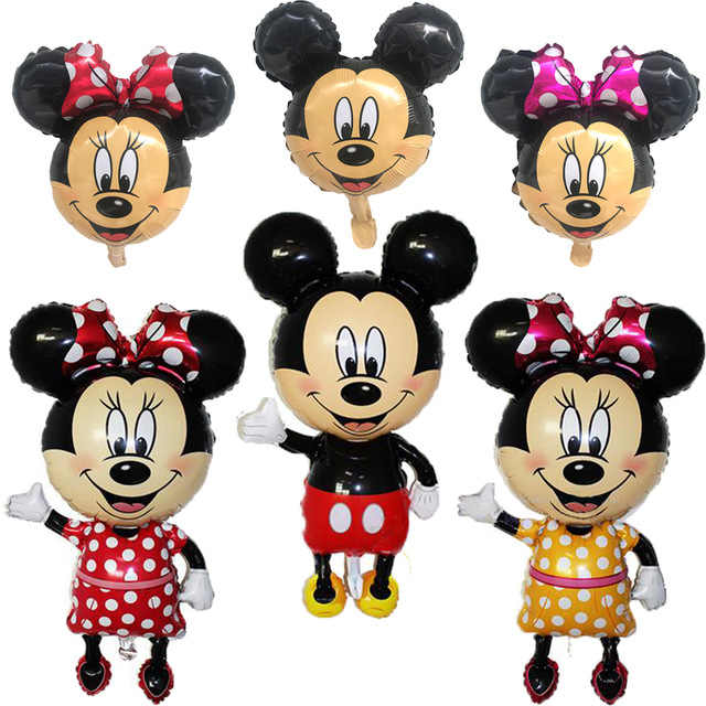 Beruntung 1 Pcs/lot Mickey Minnie Mouse Foil Balon Ulang Tahun Pesta Dekorasi MINI Mickey Kepala Medium Mickey Kepala Mainan Balon
