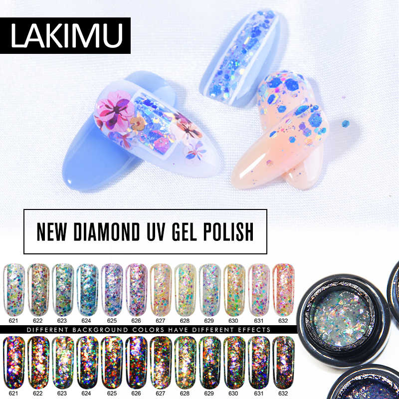 LAKIMU 12 Colors Nail Art 5ml Diamond Uv Gel Polish UV Led Semi Permanentes Enamels Gel Polish Soak Off All for Manicure