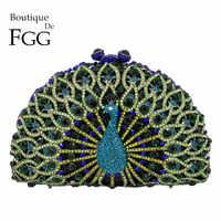 Boutique De FGG Grün Kristall Frauen Pfau Clutch Abend Tasche Partei Schminktäschchen Handtasche Hochzeit Kupplungen Braut Diamant Geldbörse