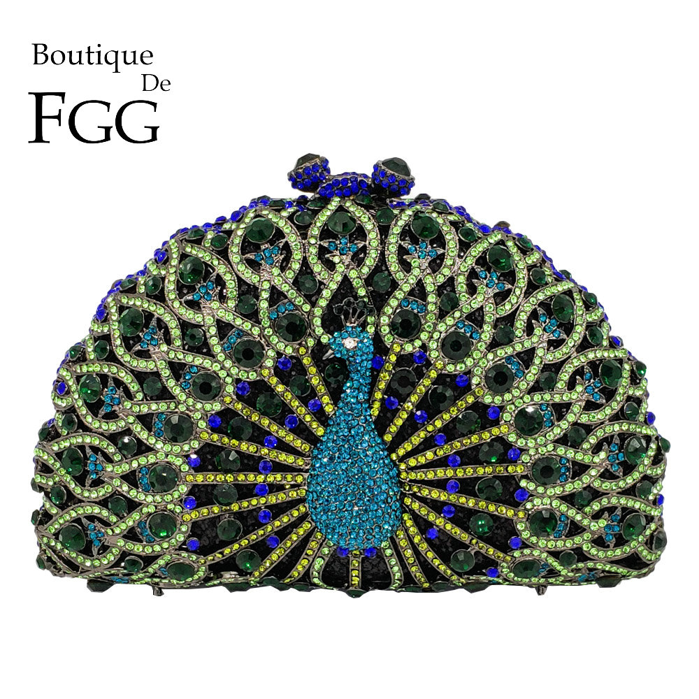 Boutique De FGG Green Crystal Women Påfågel Koppling Kväll Väska Party Minaudiere Handväska Bröllop Kopplingar Bridal Diamond Purse