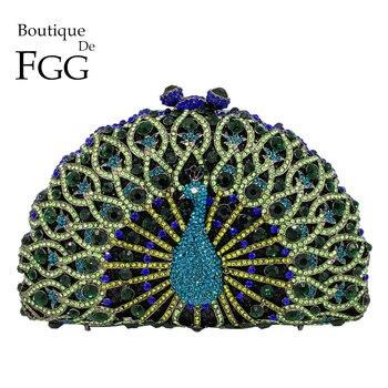 Boutique De FGG vert cristal femmes paon pochette sac De soirée fête Minaudiere sac à main De mariage embrayages De mariée diamant sac à main