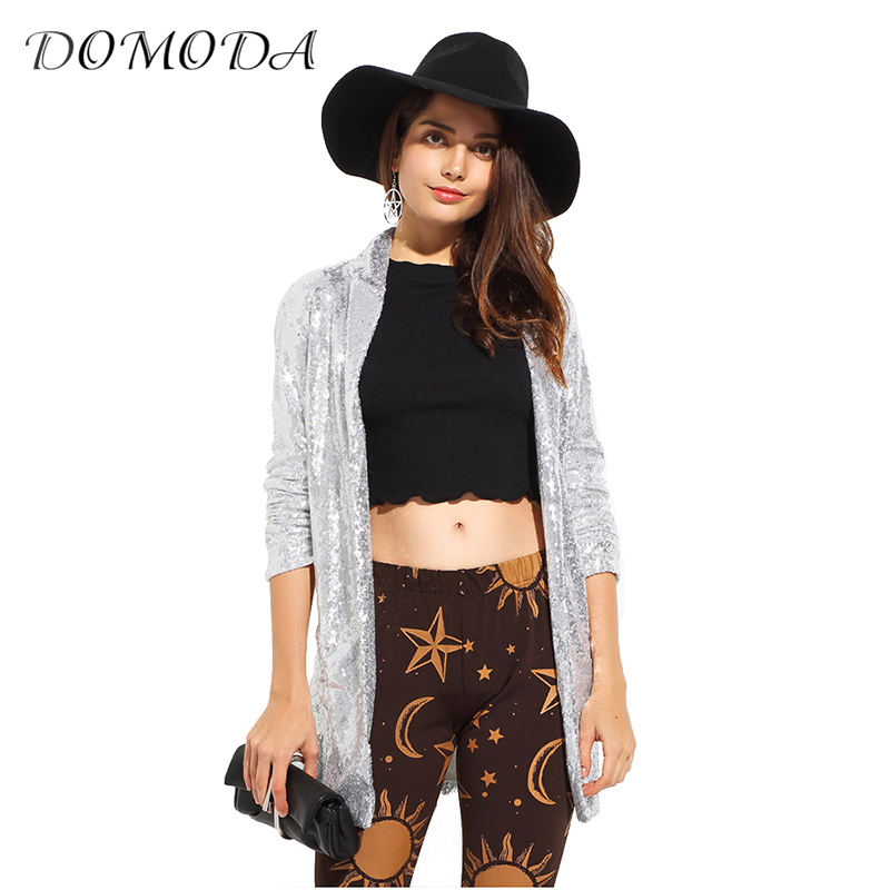 DOMODA 2017 Autumn Fashion Women Silver Sequined Coats Turn-down Collar Long Sleeve Outwears Cardigan Jackets