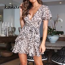 Kakan summer sexy women floral dress deep V-neck ruffled dress chiffon tunic dress все цены