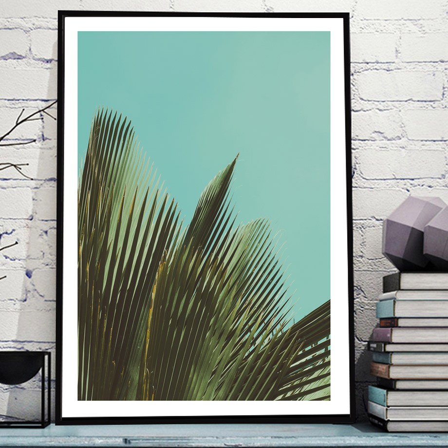 Palm Leaf Mountain Railway Quotes Wall Art Canvas Painting Nordic Posters And Prints Plants Wall Pictures For Living Room Decor in Painting Calligraphy from Home Garden