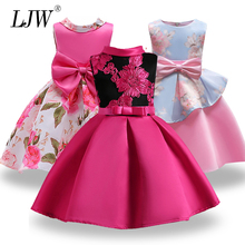 Baby Girl embroidery Silk Princess font b Dress b font for font b Wedding b font