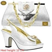 DS10 Gratis Verzending Populaire Afrikaanse Hoge Hakken Schoenen Bijpassende Tas Sexy Dame Pompen Italiaanse Schoenen En Tas Set Voor Bruiloft