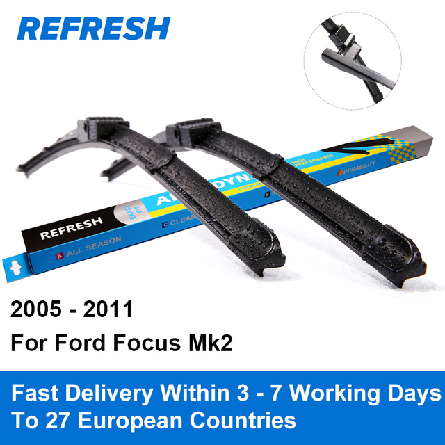 "Refresh Wiper Blades for Ford Focus Mk2 International Model 26""&17"" Side Pin 2005 2006 2007 2008 2009 2010 2011"