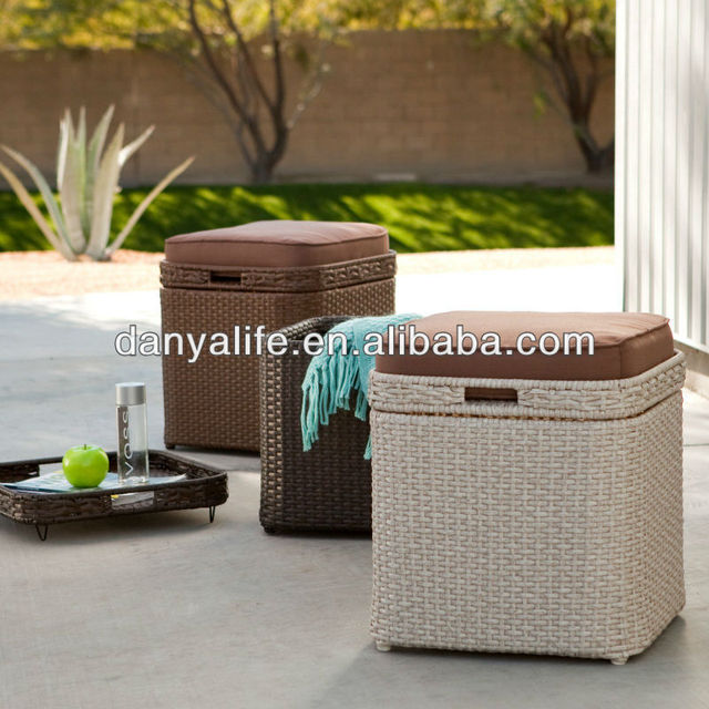 dyst d1007wicker rattan storage box garden patio storage box - Patio Storage Box