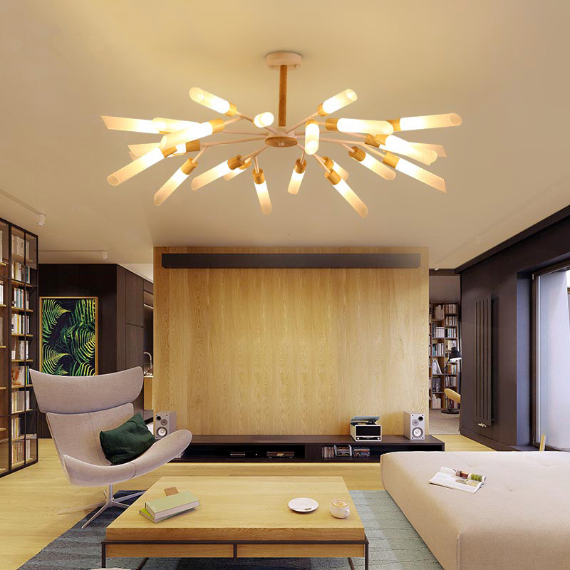LED chandelier lighting living room suspension luminaires wooden suspended lamps Japanese style fixtures bedroom hanging lights